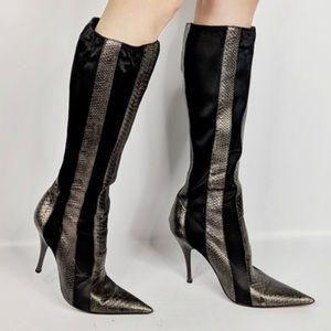 Carlos Sexy snakeskin print leather heeled boots 9
